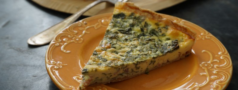 Spinach Speck Quiche with Greek Yogurt