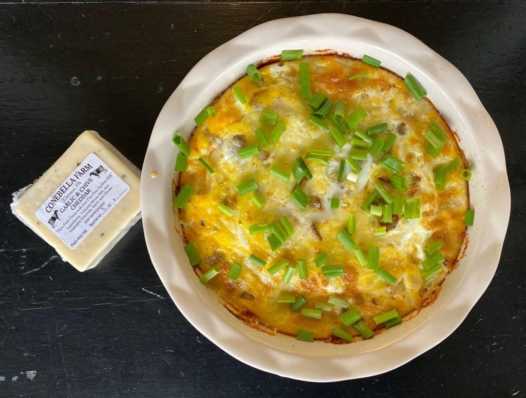 Garlic Chive Cheddar Breakfast Casserole